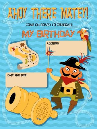 Verjaardag uitnodiging sjabloon met een piraat voor een kinderen themafeest Stock Illustratie