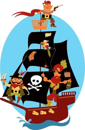 Cartoon piratenschip met leuke piraten en een papegaai, varen onder zwarte zeilen