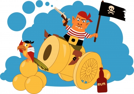 angry sky: Pirate on a cannon