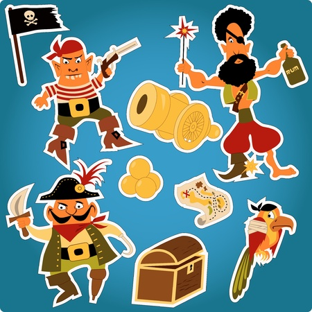 chest wall: Cartoon pirates stickers