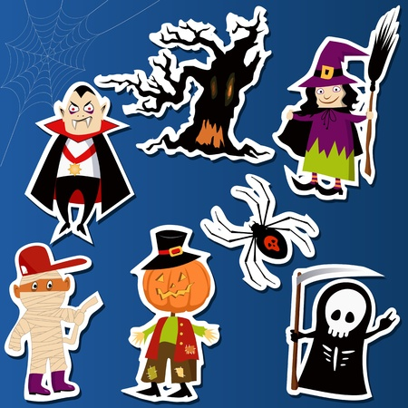 wall decal: Set of cute Halloween character stickers with Witch, Mummy, Dracula, Grim Reaper and haunted tree Illustration