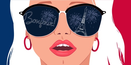 Bonjour, Paris  Portrait of a beautiful blond girl in sunglasses with Eiffel tower reflection in it  Vector