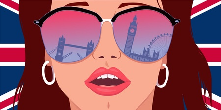 Visit London, Learn English  Portrait of a young woman in big sunglasses with the reflection of London landmarks in it