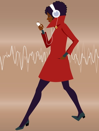 listener: Listener  Young black woman in a red coat wearing headphones and walking, listening to music from a mp3 player
