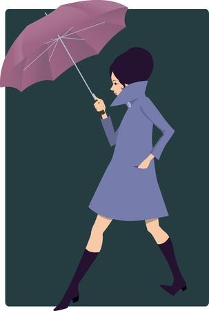 Mooie jonge vrouw gekleed in jaren 1960 stijl kleding en met een grote paraplu lopen op een donkere achtergrond, vector illustratie