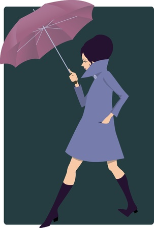 Pretty young woman dressed in 1960s style clothes and with a big umbrella walking on a dark background, vector illustration
