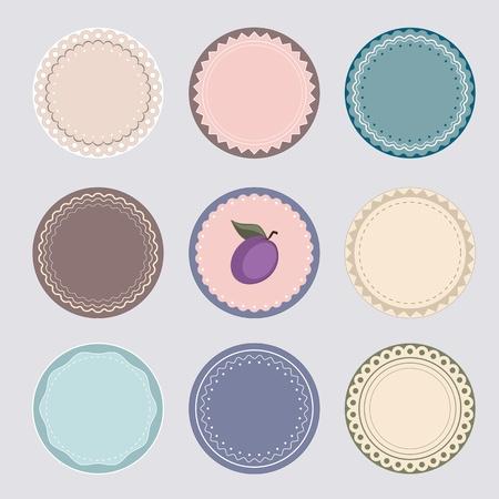 preserves: Conjunto de etiquetas o pegatinas, bueno para conservas y tapas de Vectores