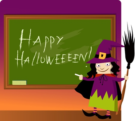Cute witch with a broom writing Happy Halloween on the school blackboard