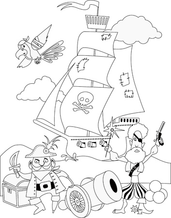 Pirates with a cannon and a ship, coloring page, black and white outline vector illustration  Vector