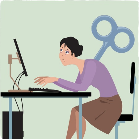 Exhausted female employee working on the computer, giant key sticking into her back, vector illustration