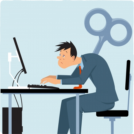 office desk: Exhausted male employee working on the computer, giant key sticking into his back illustration