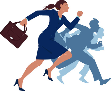 business briefcase: Businesswoman running competing with men