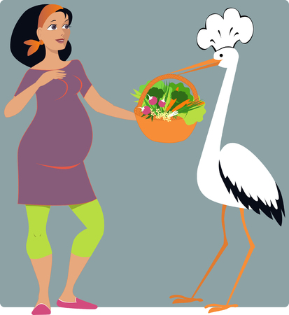 bringing: Stork in a chef s hat bringing a basket of vegetables to a young pregnant woma cartoon