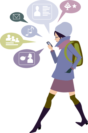 smart phone woman: Student girl checking her social network on a smart phone, cartoon Illustration