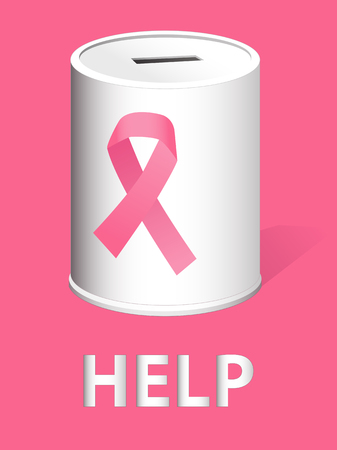 cancer ribbons: Donation can with a pink ribbon for breast cancer research and prevention,  illustration
