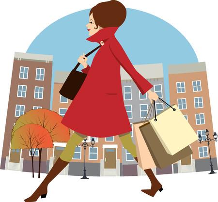 きれいな女性の秋の買い物袋の街を歩いて、漫画  イラスト・ベクター素材