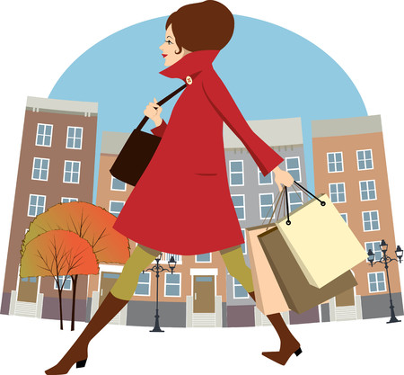 Pretty woman walking down the city street with shopping bags in autumn, cartoon