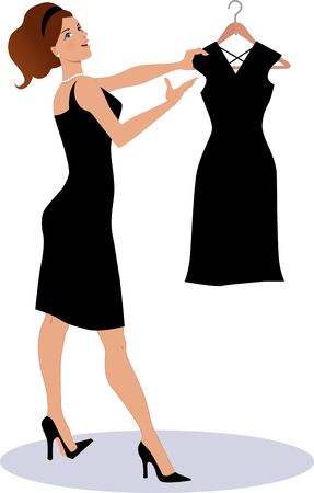 Saleswoman showing a little black dress on a hanger