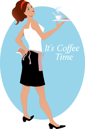 rear view girl: Young cute woman in an apron holding a tray with a cup of hot cappuccino coffee and cookie illustration