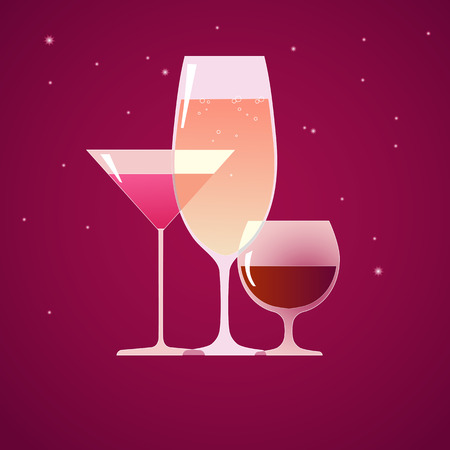 Cocktail, brandy and wine Vector