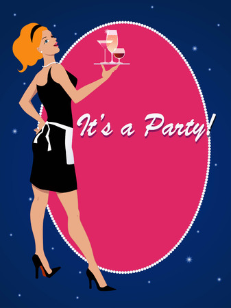 Party invitation with a cocktail waitress Illustration