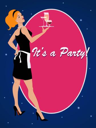 Uitnodiging van de partij met een cocktail serveerster