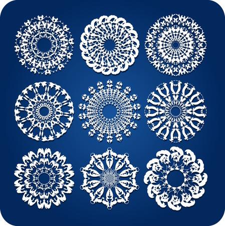creative arts: Doily or snowflake design set Illustration
