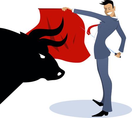 torero: Gesch�ftsmann Torero einen Stier k�mpfen Illustration