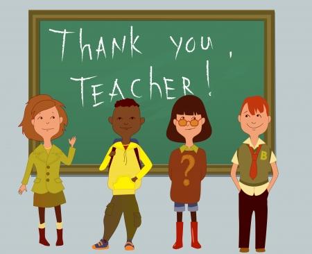 cartoon school girl: Thank you, teacher card