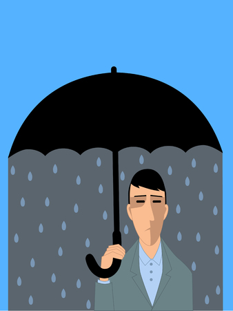 clinical psychology: Sad man under umbrella, representing a clinical depression
