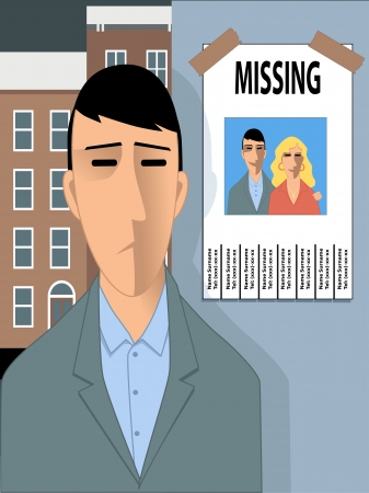 Missing happiness  Sad man looking at a missing poster with a photo of him and a young woman, happy illustration for divorce, relationship conflict or erectile dysfunction