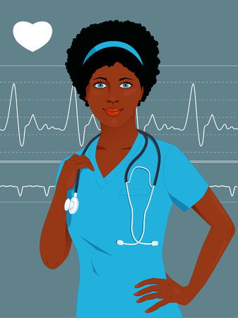 heart monitor: Young African-American female healthcare professional in hospital scrubs, with stethoscope, heart monitor on the background