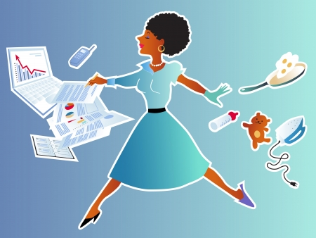 house chores: Pretty black woman leaping between her house chores and job responsibilities Illustration