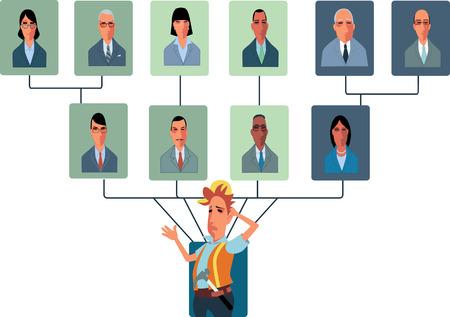 Top-Heavy Organisationsstruktur mit zu vielen Managern Standard-Bild - 23111514