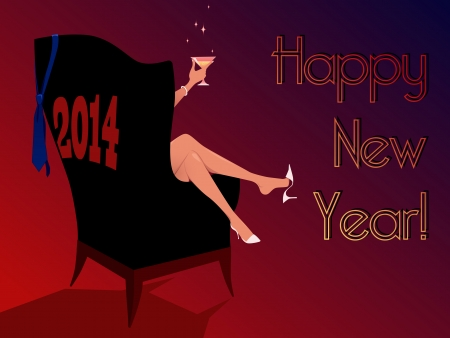 s eve: Happy New Year 2014 greeting card Illustration