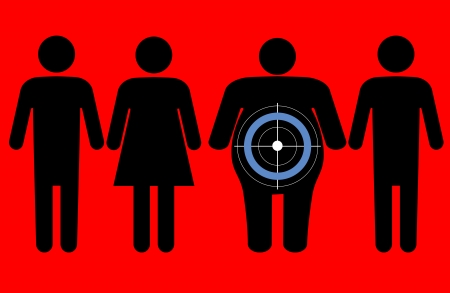 Diabetes targeting overweight people Vector Illustration