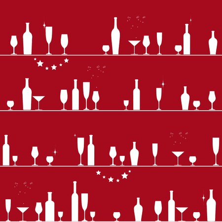 brandy: Holiday seamless pattern with glasses and bottles