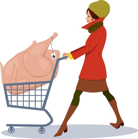 Pretty woman shopping for holidays, pushing a shopping cart with an oversized turkey in it, vector cartoon