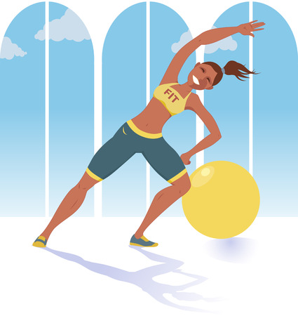 personal trainer: Female fitness instructor or personal trainer doing exercise in front of a window, fitness ball behind her