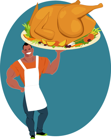 Smiling muscular man holding a huge roasted turkey on a platter with vegetables, vector cartoon Illustration