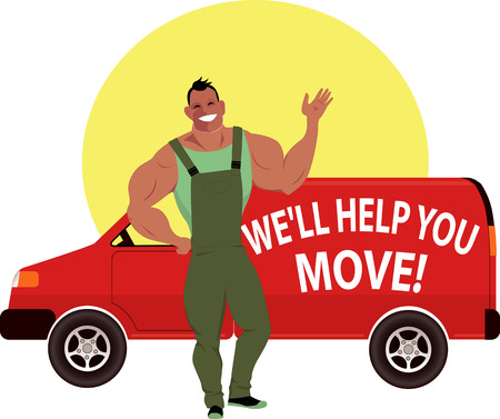 truck driver: Professional mover with a moving van Illustration