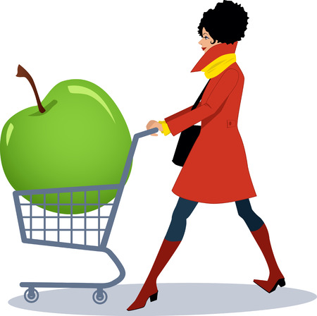 eat right: Pretty woman in red coat pushing a shopping cart with a huge green apple in it, vector cartoon