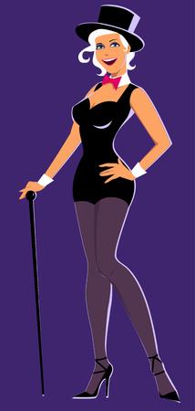 Sexy jonge vrouw in een koor lijn outfit, hoge hoed en met een stok staande op een paarse achtergrond Stock Illustratie