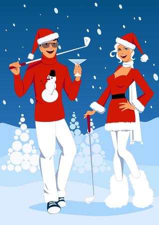 rekolekcje: Młoda para w Santa stroje stoi pod śniegiem na polu golfowym, na drinka, wektor cartoon Ilustracja