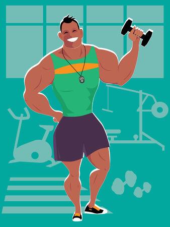 笑みを浮かべて筋肉男、パーソナル トレーナー、ジムでダンベルを保持