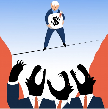 Man walking on a tightrope, carrying a money bag across a pit with wolves in business suits trying to catch him, vector illustration