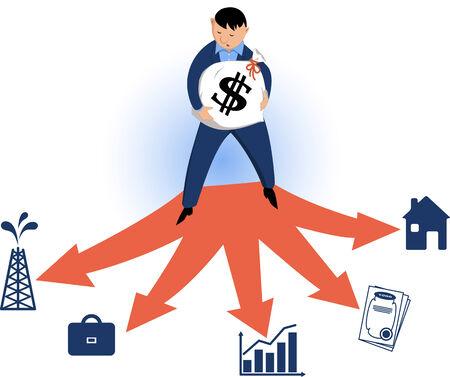 fourchette  route: Homme debout sur la fourche dans une rue, tenant un sac d'argent avec un signe de dollar sur elle, le choix d'un type de v�hicule d'investissement, illustration vectorielle
