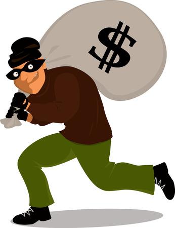 달러 기호, 벡터 만화로 돈 가방을 들고 마스크의 도둑 일러스트