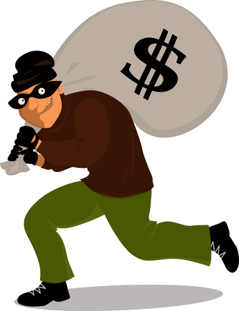 Thief in a mask carrying a money bag with a dollar sign, vector cartoon Vectores