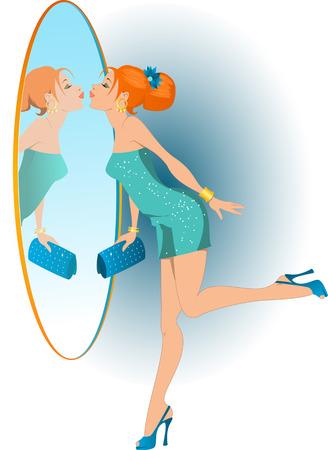 클러치: 파티에 그녀의 방법에 그녀의 반사 키스 칵테일 드레스와 높은 뒤꿈치 신발에 꽤 빨간 머리 소녀